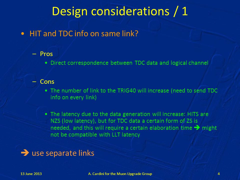 Design considerations / 1 HIT and TDC info on same link.
