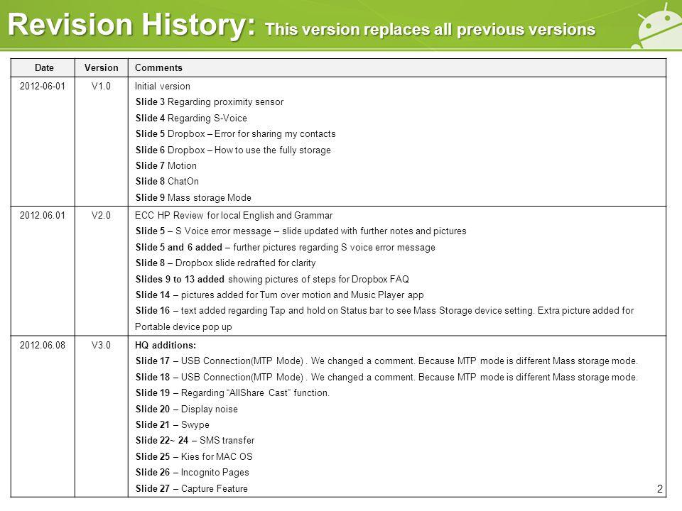 DateVersionComments 2012-06-01V1.0Initial version Slide 3 Regarding proximity sensor Slide 4 Regarding S-Voice Slide 5 Dropbox – Error for sharing my