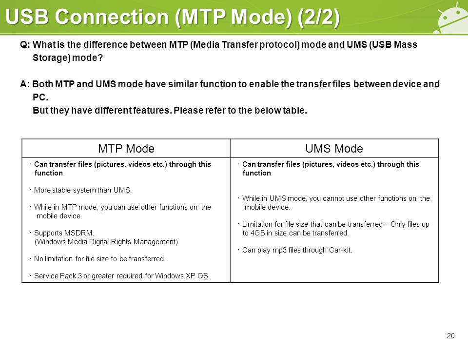 USB Connection (MTP Mode) (2/2) Q: What is the difference between MTP (Media Transfer protocol) mode and UMS (USB Mass Storage) mode? A: Both MTP and