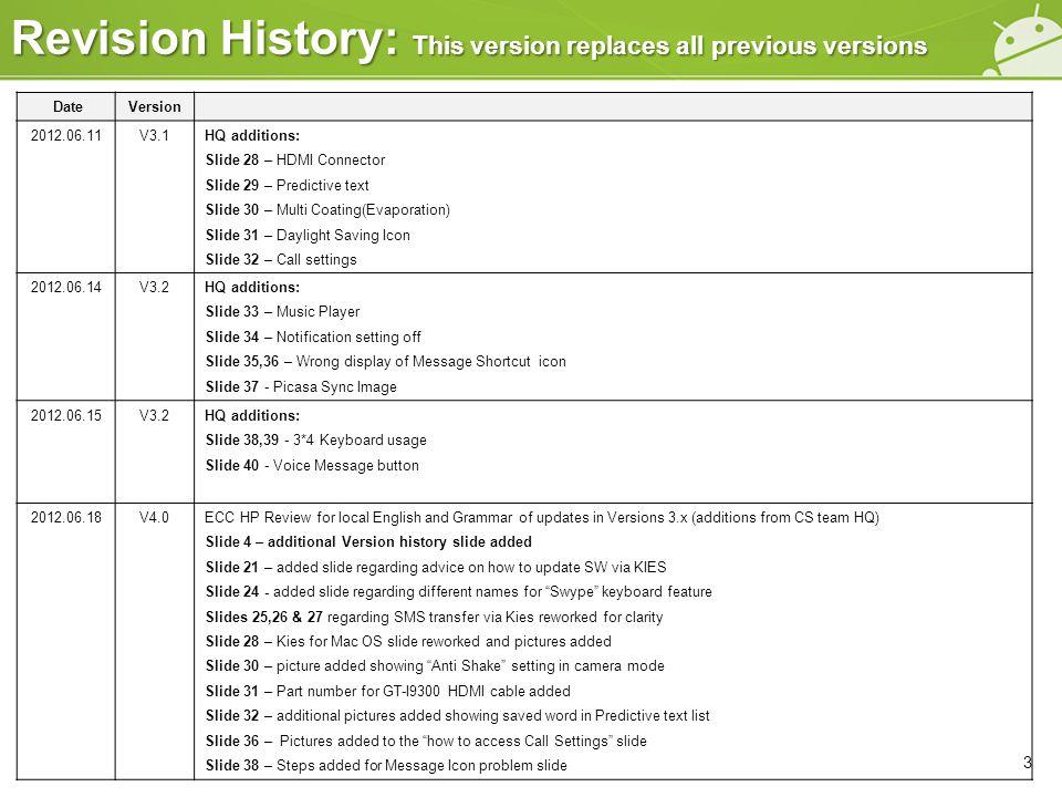 DateVersion 2012.06.11V3.1HQ additions: Slide 28 – HDMI Connector Slide 29 – Predictive text Slide 30 – Multi Coating(Evaporation) Slide 31 – Daylight