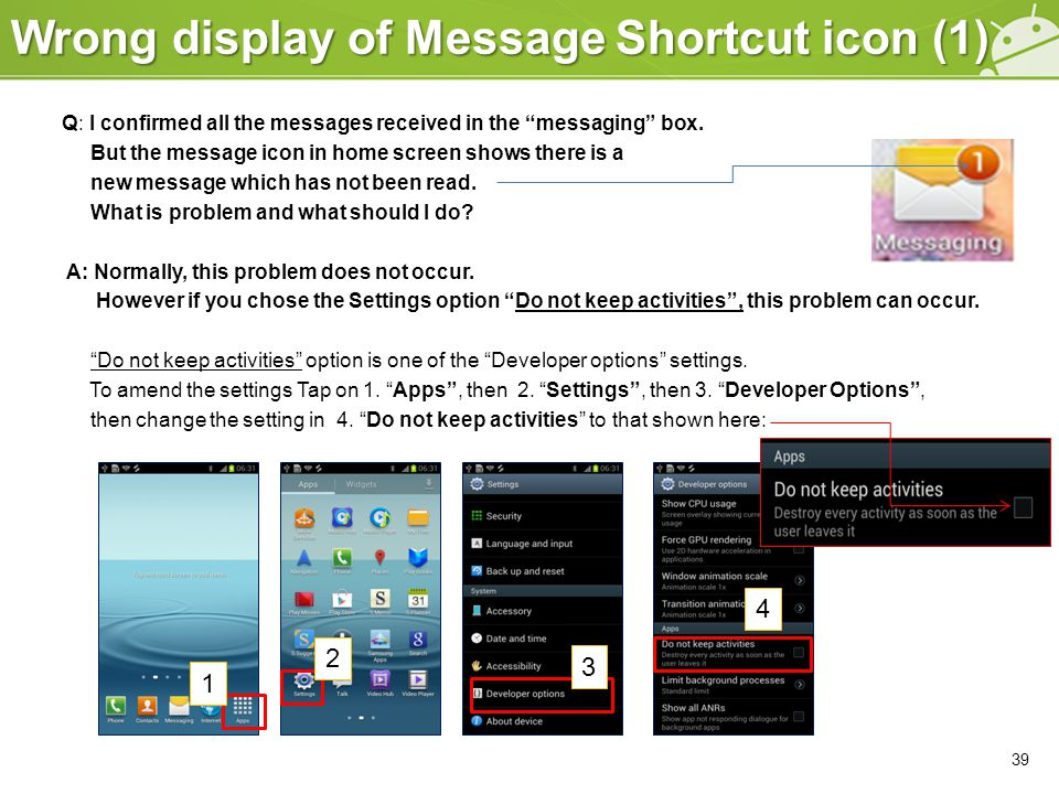 Wrong display of Message Shortcut icon (1) 39 Q: I confirmed all the messages received in the messaging box.