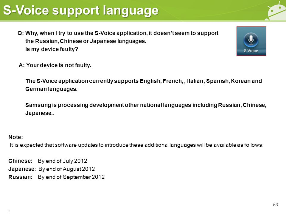 S-Voice support language 53 Q: Why, when I try to use the S-Voice application, it doesn't seem to support the Russian, Chinese or Japanese languages.