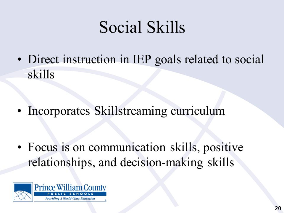 Social Skills Direct instruction in IEP goals related to social skills Incorporates Skillstreaming curriculum Focus is on communication skills, positi