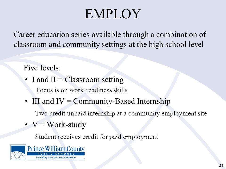 EMPLOY Career education series available through a combination of classroom and community settings at the high school level Five levels: I and II = Cl