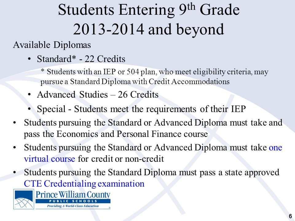 7 Virtual Course Requirement Students who enter the 9 th grade for the first time in 2013-2014 and beyond: Must successfully complete one virtual course, which may be noncredit-bearing, to graduate with a Standard or Advanced Studies Diploma; Students will meet this requirement when they are enrolled in the Economics and Personal Finance course.