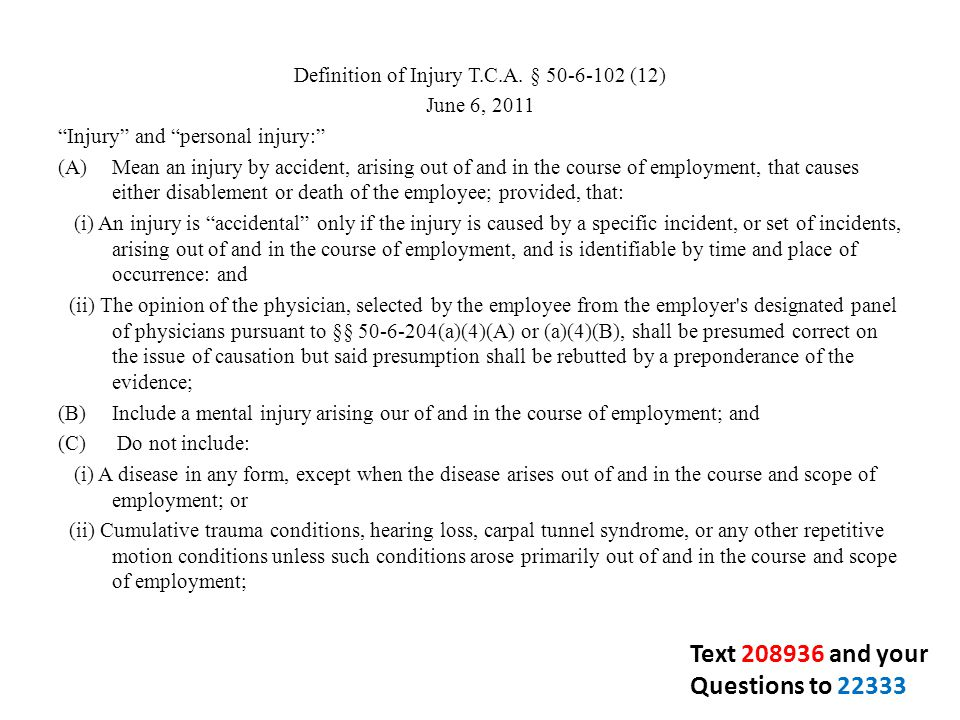Definition of Injury T.C.A.