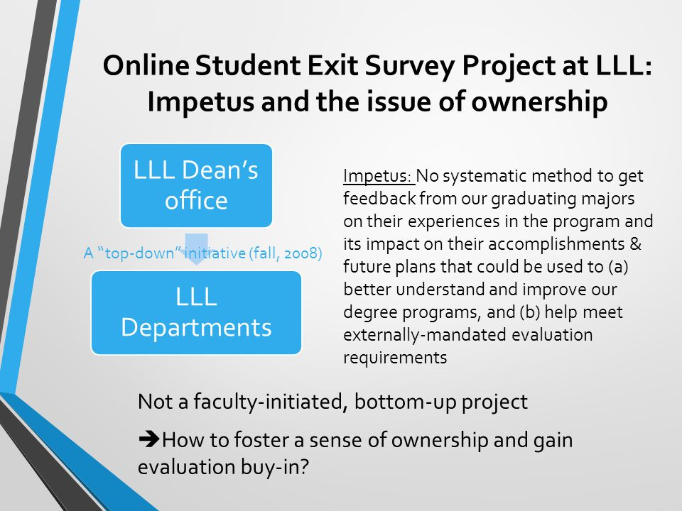 Online Student Exit Survey Project at LLL: Impetus and the issue of ownership Not a faculty-initiated, bottom-up project  How to foster a sense of ownership and gain evaluation buy-in.
