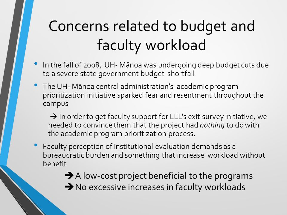 Concerns related to budget and faculty workload (Cont'd) Hired two quarter-time graduate assistants (.25 Full-Time Equivalent [FTE] x 2), who were then being trained as professional evaluation specialists, for the initial year of the project How did we get the project started?