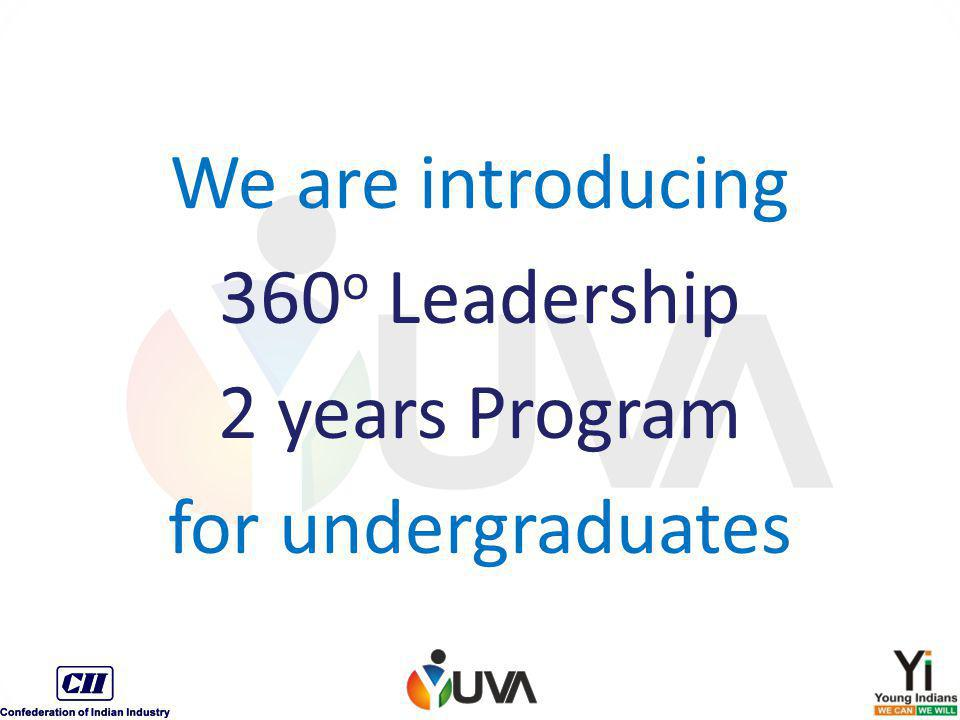 We are introducing 360 o Leadership 2 years Program for undergraduates