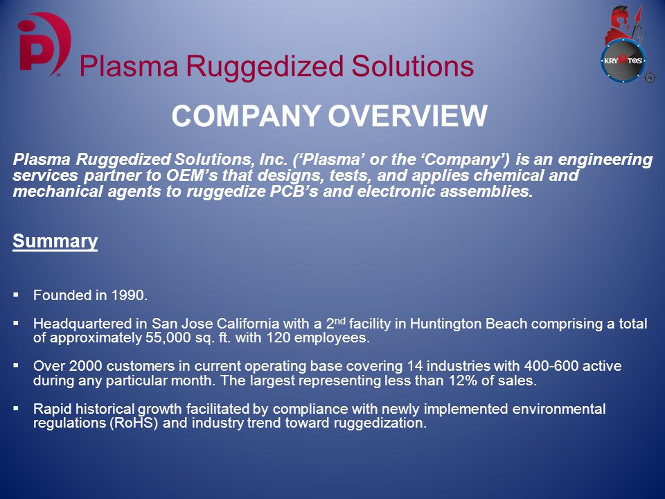 QUALITY CERTIFICATIONS Plasma Ruggedized Solutions Locations Plasma Ruggedized Solutions - Northern CA Plasma Ruggedized Solutions - Southern CA 2284 Ringwood Ave Suite A 5452 Business Drive San Jose, CA 95131 Huntington Beach, CA 92649 AS9100 ITAR IPC RoHS NASA ISO 9001:2008 Registered Registered Complaint 8739.1A Certified