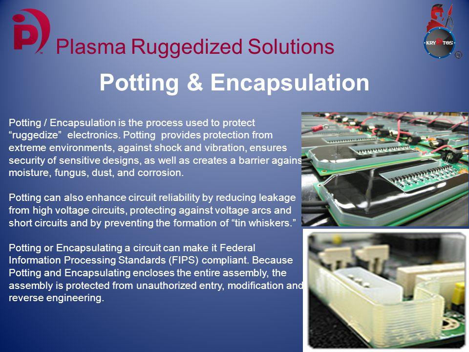 Potting & Encapsulation Plasma Ruggedized Solutions Potting / Encapsulation is the process used to protect ruggedize electronics.