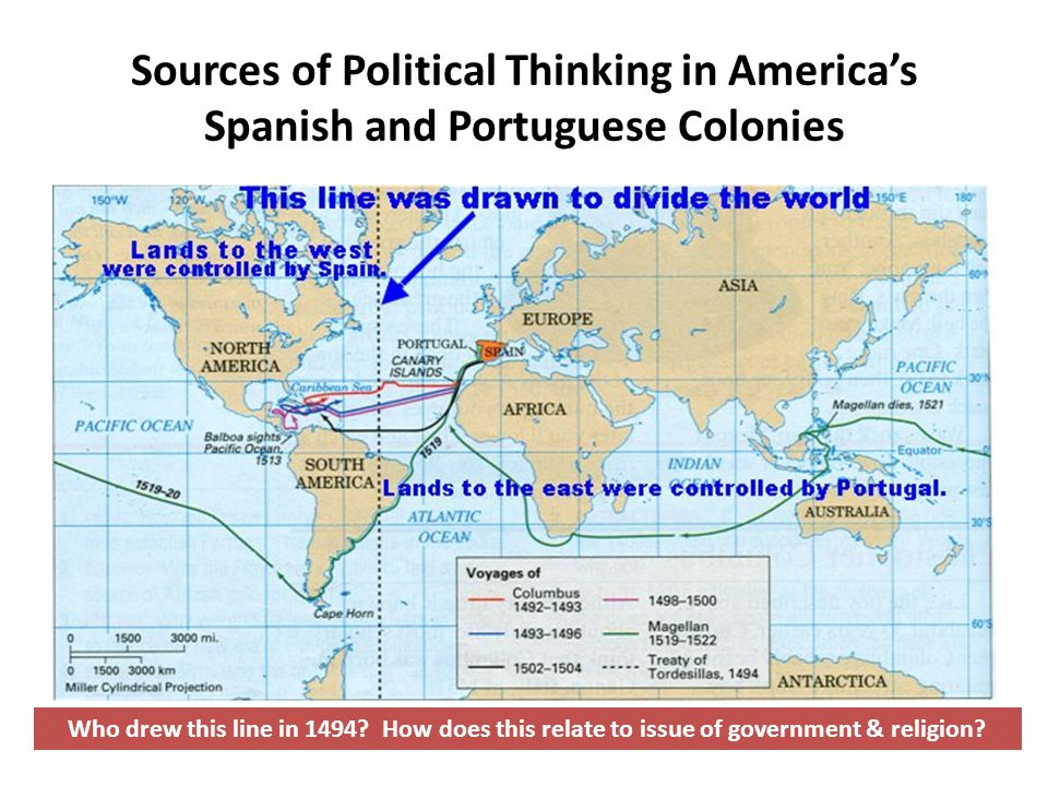 Sources of Political Thinking in America's Spanish and Portuguese Colonies Who drew this line in 1494.