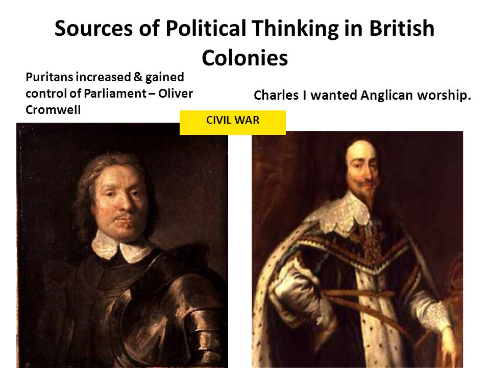 Sources of Political Thinking in British Colonies Charles I wanted Anglican worship.
