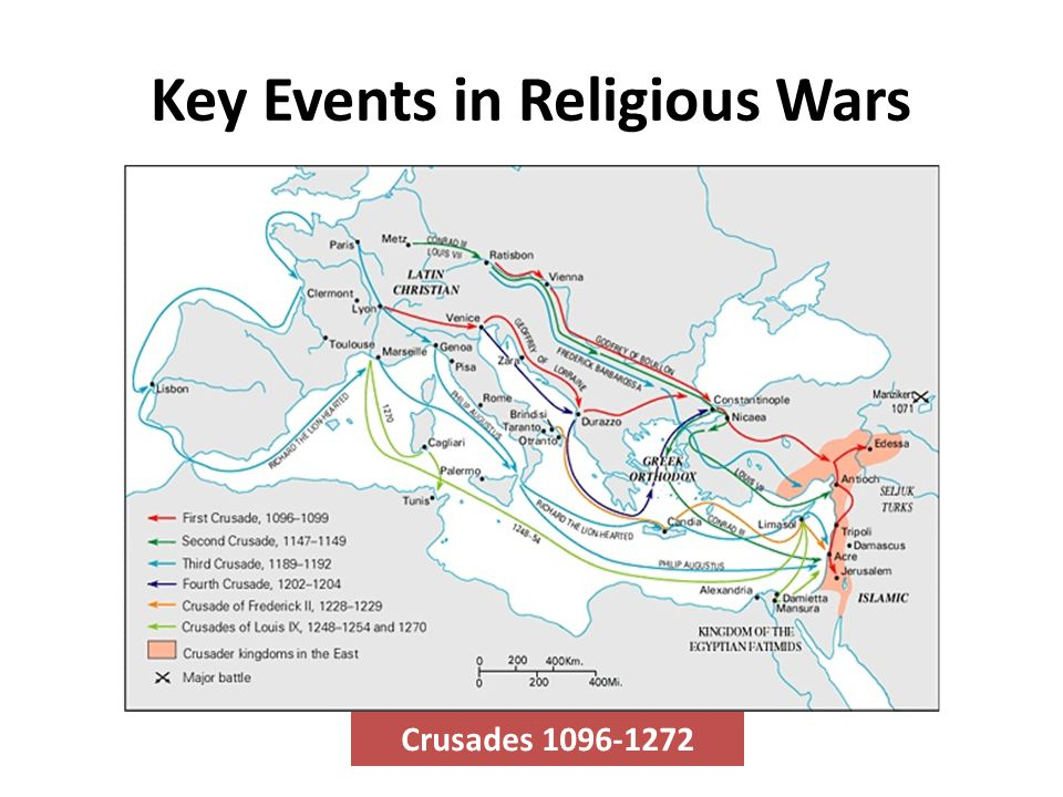 Key Events in Religious Wars Crusades 1096-1272
