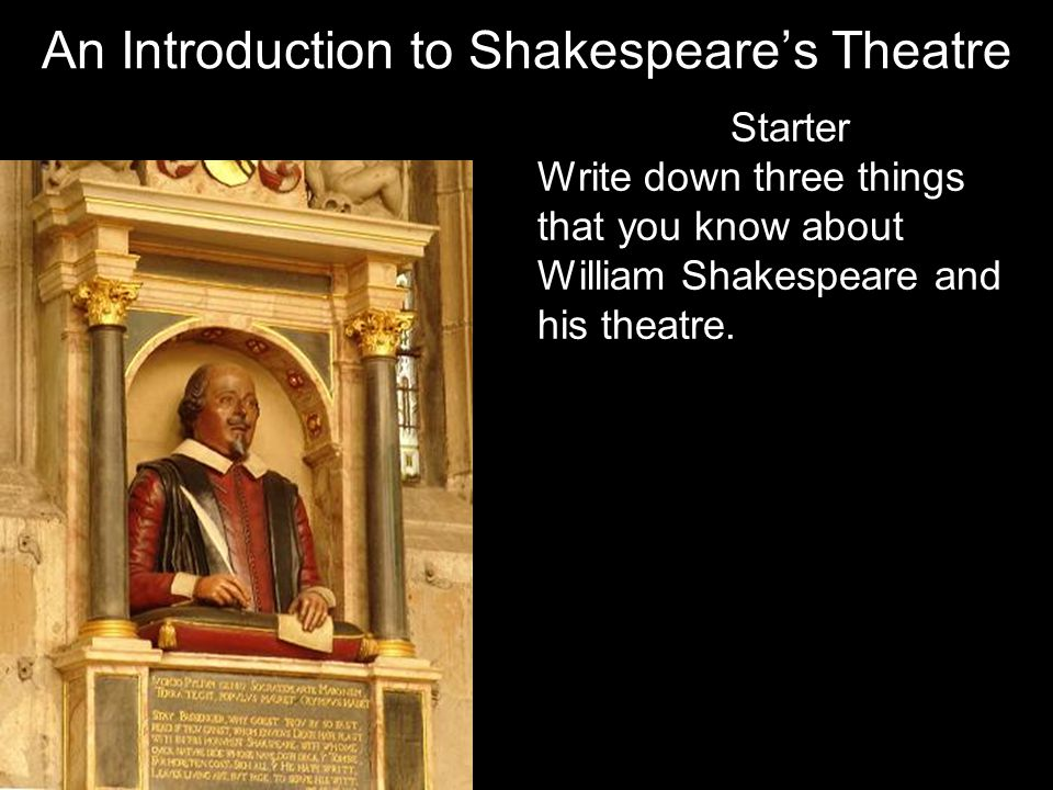 Starter Write down three things that you know about William Shakespeare and his theatre.