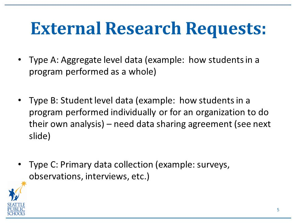 Type A: Aggregate level data (example: how students in a program performed as a whole) Type B: Student level data (example: how students in a program performed individually or for an organization to do their own analysis) – need data sharing agreement (see next slide) Type C: Primary data collection (example: surveys, observations, interviews, etc.) External Research Requests: 5