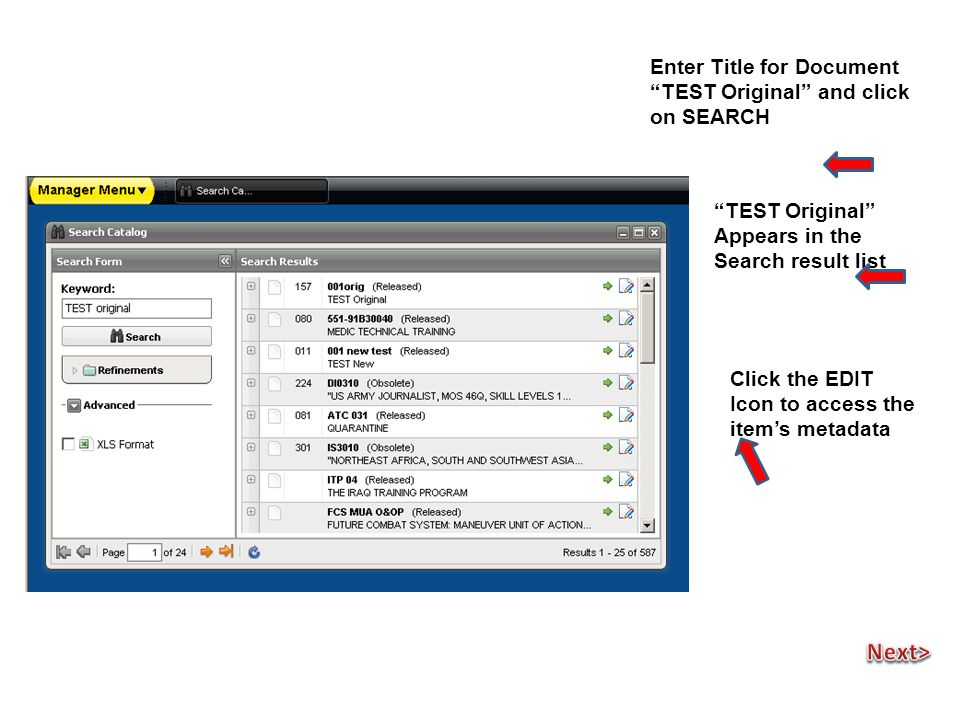At document TEST Original's Metadata Screen Click on SUPERSEDE to begin the process