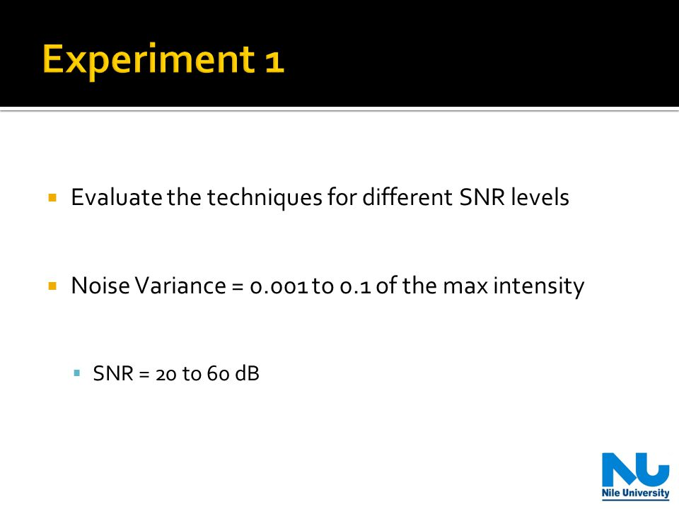  Evaluate the techniques for different SNR levels  Noise Variance = 0.001 to 0.1 of the max intensity  SNR = 20 to 60 dB