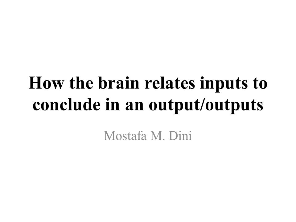 How the brain relates inputs to conclude in an output/outputs Mostafa M. Dini