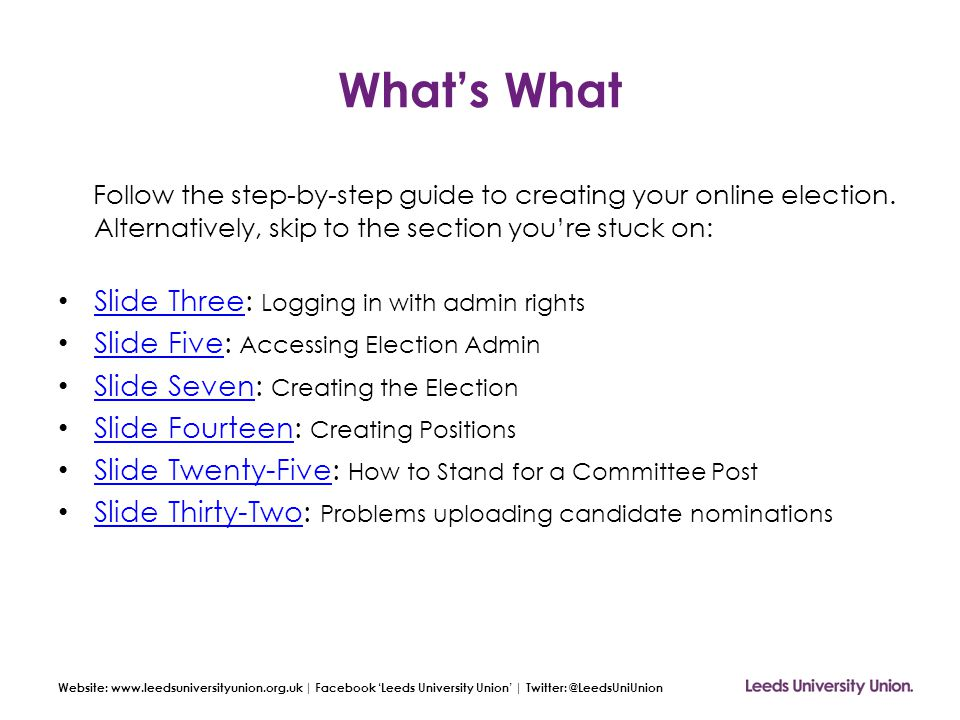 Website: www.leedsuniversityunion.org.uk | Facebook 'Leeds University Union' | Twitter: @LeedsUniUnion Step Four: Creating the Election Save your Election Be sure to press 'Save Election' at the bottom of the page: You'll then see the following on your Elections Admin page: