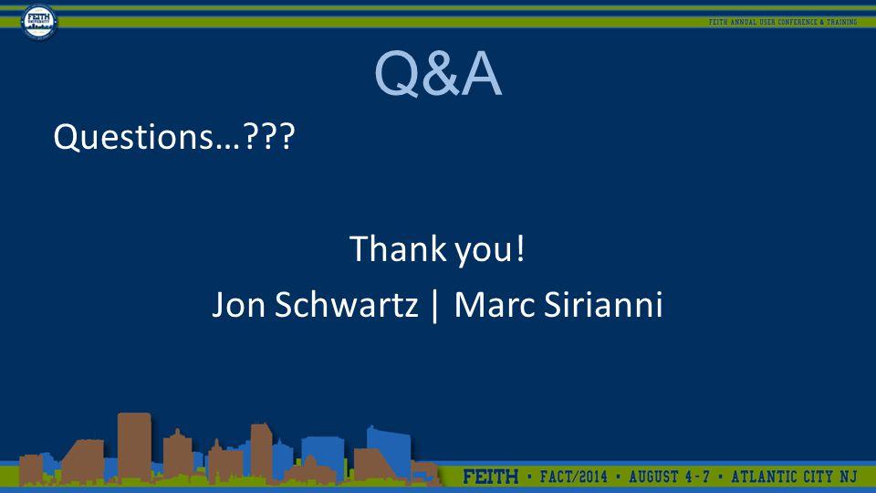 Q&A Questions… Thank you! Jon Schwartz | Marc Sirianni