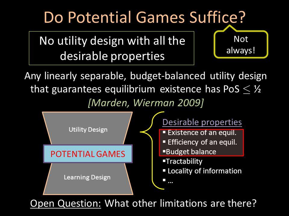 Do Potential Games Suffice.