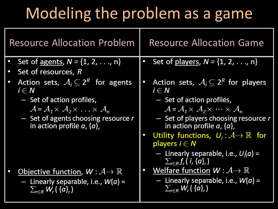 Modeling the problem as a game Set of players, N = {1, 2,..., n} Action sets, A i µ 2 R for players i 2 N – Set of action profiles, A = A 1 £ A 2 £  £ A n – Set of players choosing resource r in action profile a, {a} r Utility functions, U i : A.