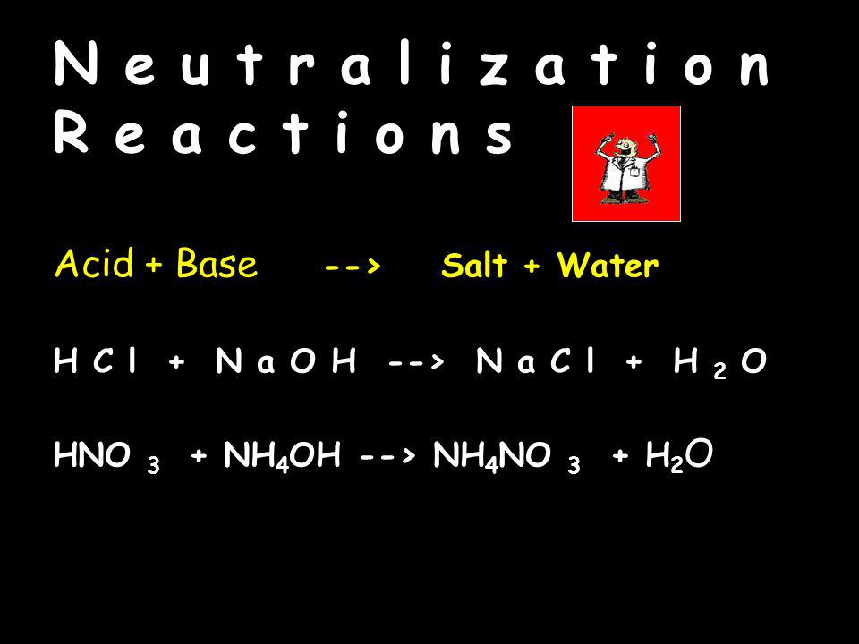 N e u t r a l i z a t i o n R e a c t i o n s Acid + Base --> Salt + Water H C l + N a O H --> N a C l + H 2 O HNO 3 + NH 4 OH --> NH 4 NO 3 + H 2 O Acid + Base --> Salt + Water H C l + N a O H --> N a C l + H 2 O HNO 3 + NH 4 OH --> NH 4 NO 3 + H 2 O