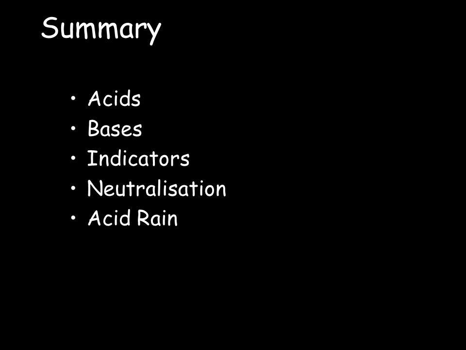 Summary Acids Bases Indicators Neutralisation Acid Rain