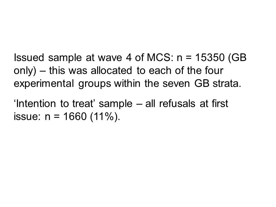 Issued sample at wave 4 of MCS: n = 15350 (GB only) – this was allocated to each of the four experimental groups within the seven GB strata.