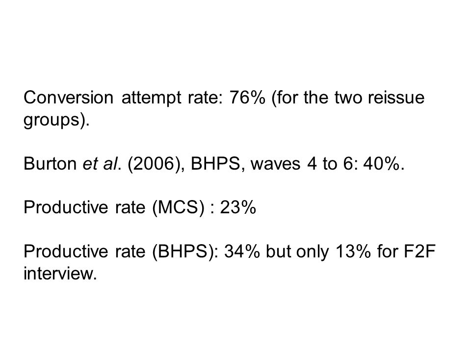 Conversion attempt rate: 76% (for the two reissue groups).