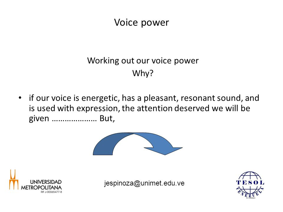Voice power Working out our voice power Why.