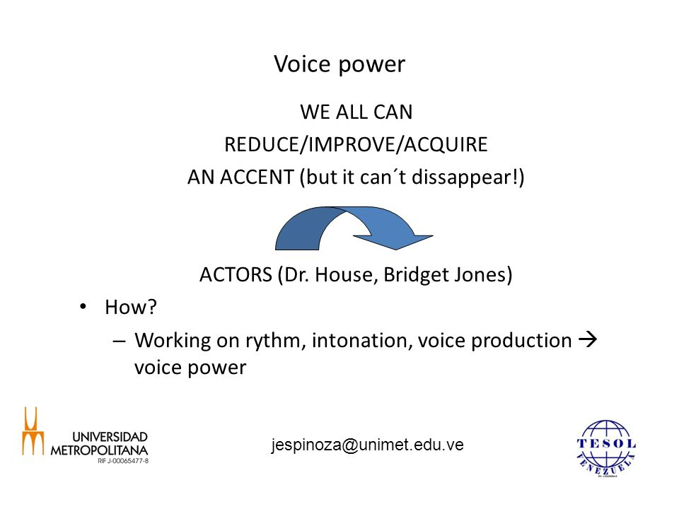 Voice power WE ALL CAN REDUCE/IMPROVE/ACQUIRE AN ACCENT (but it can´t dissappear!) ACTORS (Dr. House, Bridget Jones) How? – Working on rythm, intonati