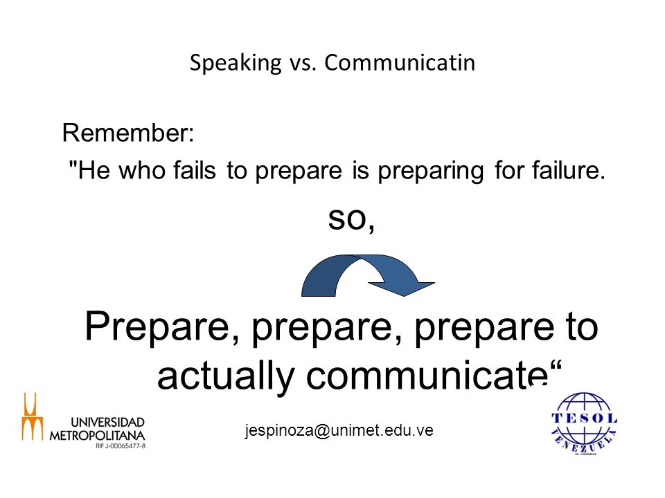 Speaking vs. Communicatin Remember: He who fails to prepare is preparing for failure.