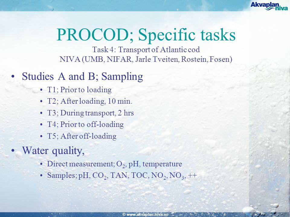 © www.akvaplan.niva.no PROCOD; Specific tasks Task 4: Transport of Atlantic cod NIVA (UMB, NIFAR, Jarle Tveiten, Rostein, Fosen) Studies A and B; Sampling T1; Prior to loading T2; After loading, 10 min.