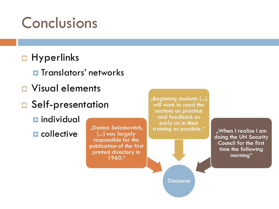 "Conclusions  Hyperlinks  Translators' networks  Visual elements  Self-presentation  individual  collective Discourse ""Danica Seleskovitch, [...]"