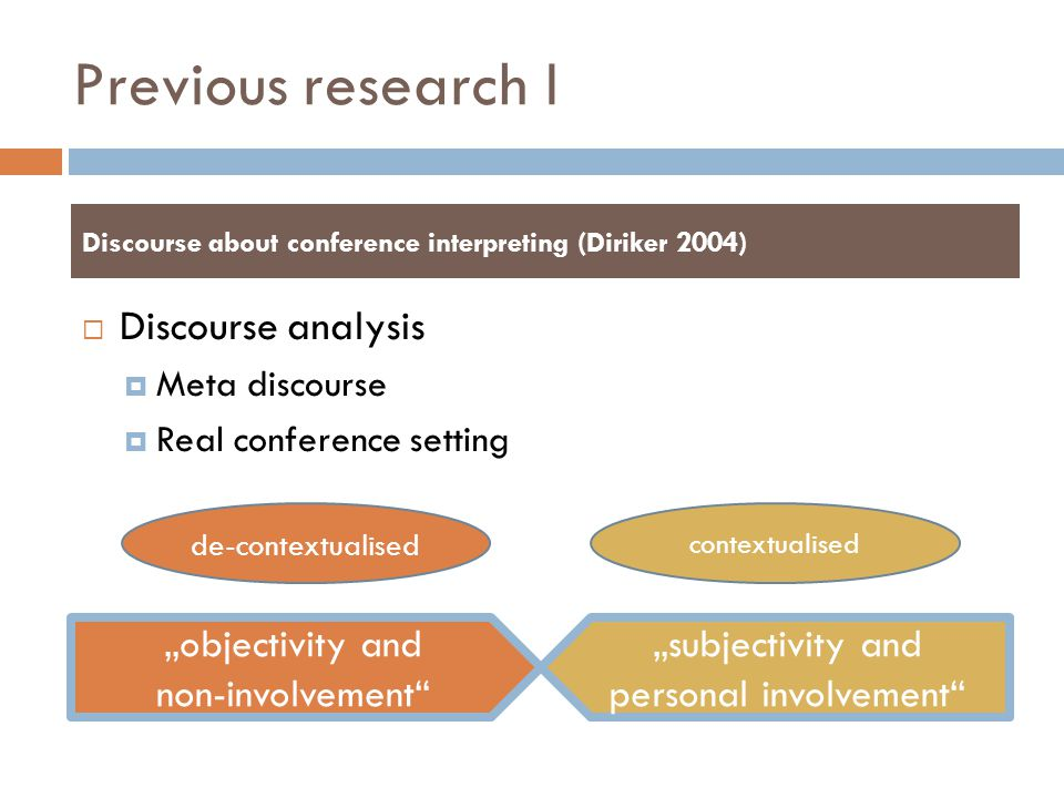 """Previous research I  Discourse analysis  Meta discourse  Real conference setting Discourse about conference interpreting (Diriker 2004) """"objectivit"""