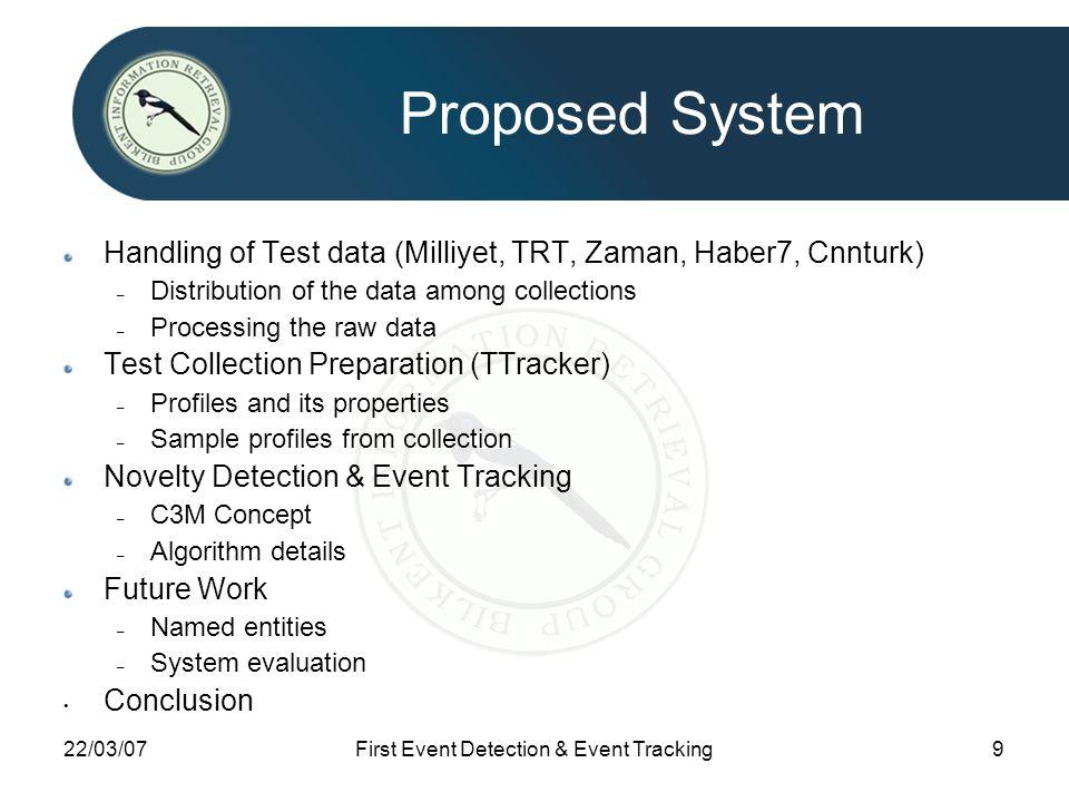 22/03/07First Event Detection & Event Tracking9 Proposed System Handling of Test data (Milliyet, TRT, Zaman, Haber7, Cnnturk) – Distribution of the da