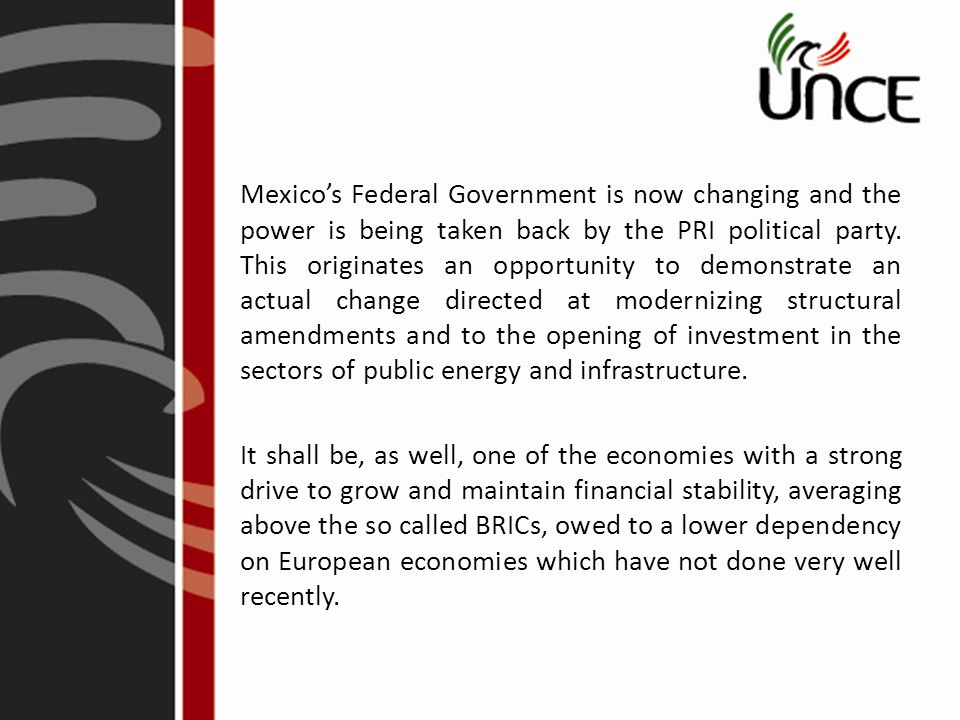 Mexico's Federal Government is now changing and the power is being taken back by the PRI political party.
