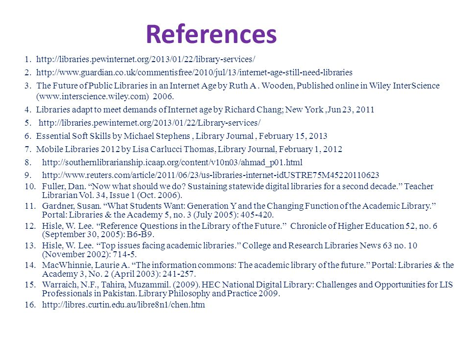 References 1.http://libraries.pewinternet.org/2013/01/22/library-services/ 2.http://www.guardian.co.uk/commentisfree/2010/jul/13/internet-age-still-need-libraries 3.The Future of Public Libraries in an Internet Age by Ruth A.