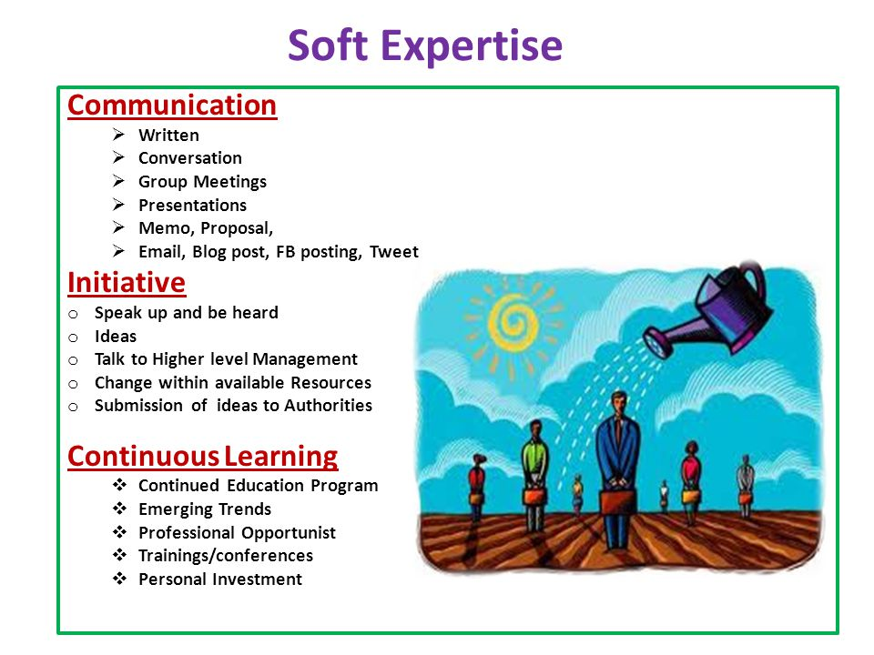Soft Expertise Communication  Written  Conversation  Group Meetings  Presentations  Memo, Proposal,  Email, Blog post, FB posting, Tweet Initiative o Speak up and be heard o Ideas o Talk to Higher level Management o Change within available Resources o Submission of ideas to Authorities Continuous Learning  Continued Education Program  Emerging Trends  Professional Opportunist  Trainings/conferences  Personal Investment