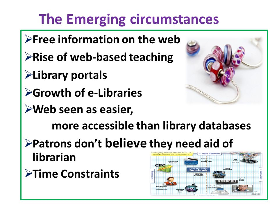 The Emerging circumstances  Free information on the web  Rise of web-based teaching  Library portals  Growth of e-Libraries  Web seen as easier, more accessible than library databases  Patrons don't believe they need aid of librarian  Time Constraints