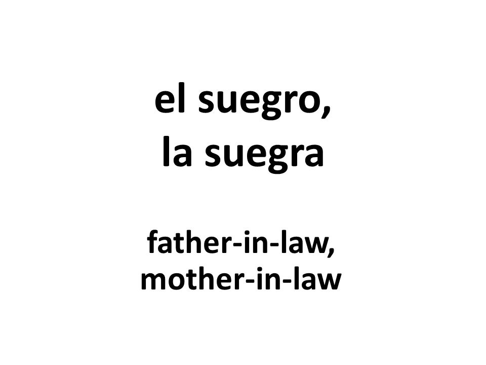 el suegro, la suegra father-in-law, mother-in-law