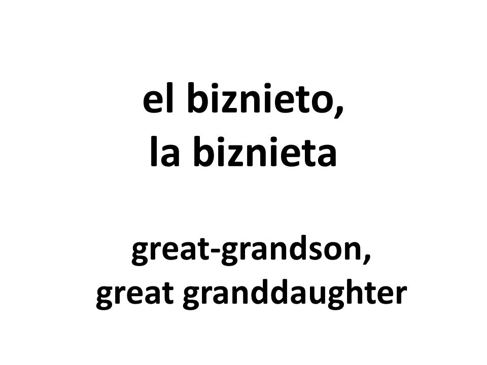 el biznieto, la biznieta great-grandson, great granddaughter
