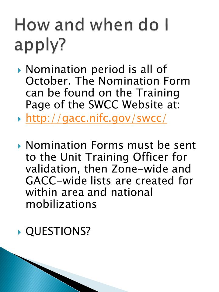  Nomination period is all of October.