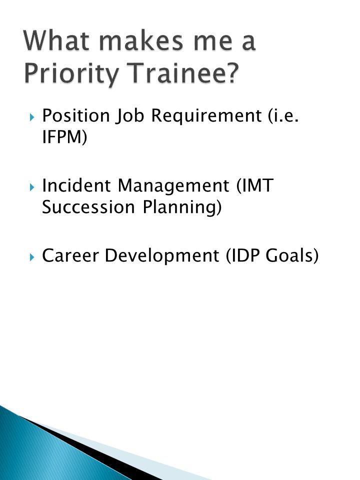  Position Job Requirement (i.e. IFPM)  Incident Management (IMT Succession Planning)  Career Development (IDP Goals)