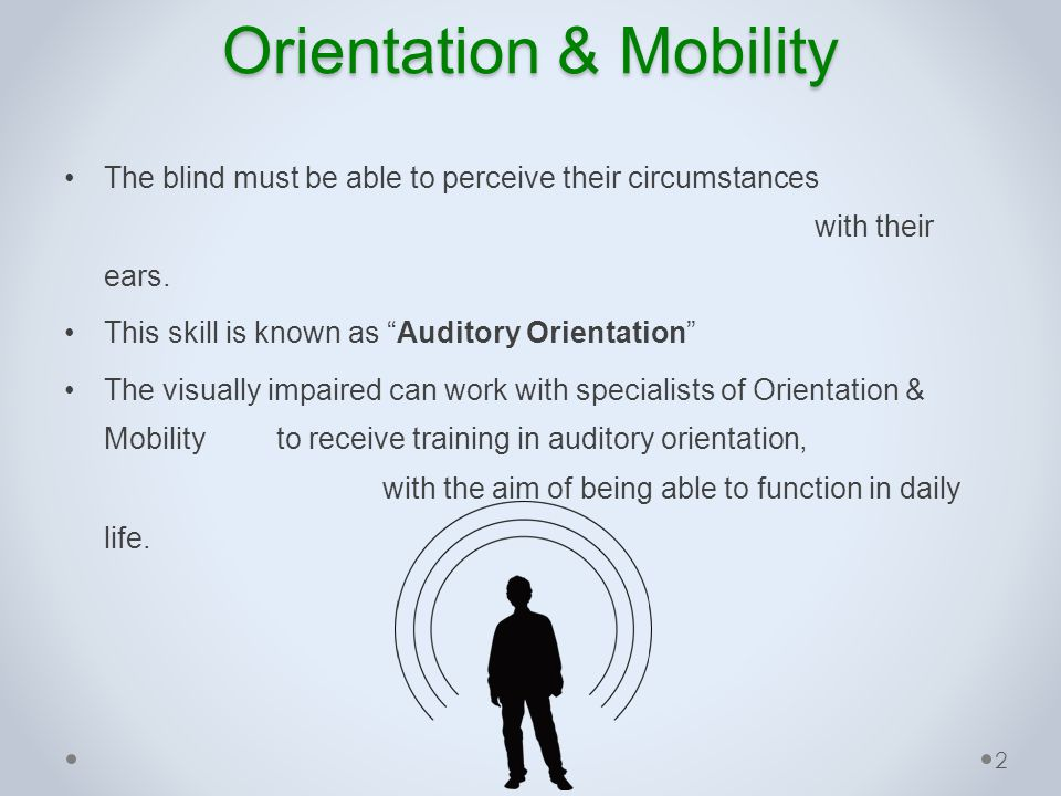 Orientation & Mobility Training auditory orientation for the blind is usually conducted in the real world, however… the real world is dangerous, especially for beginner trainee.