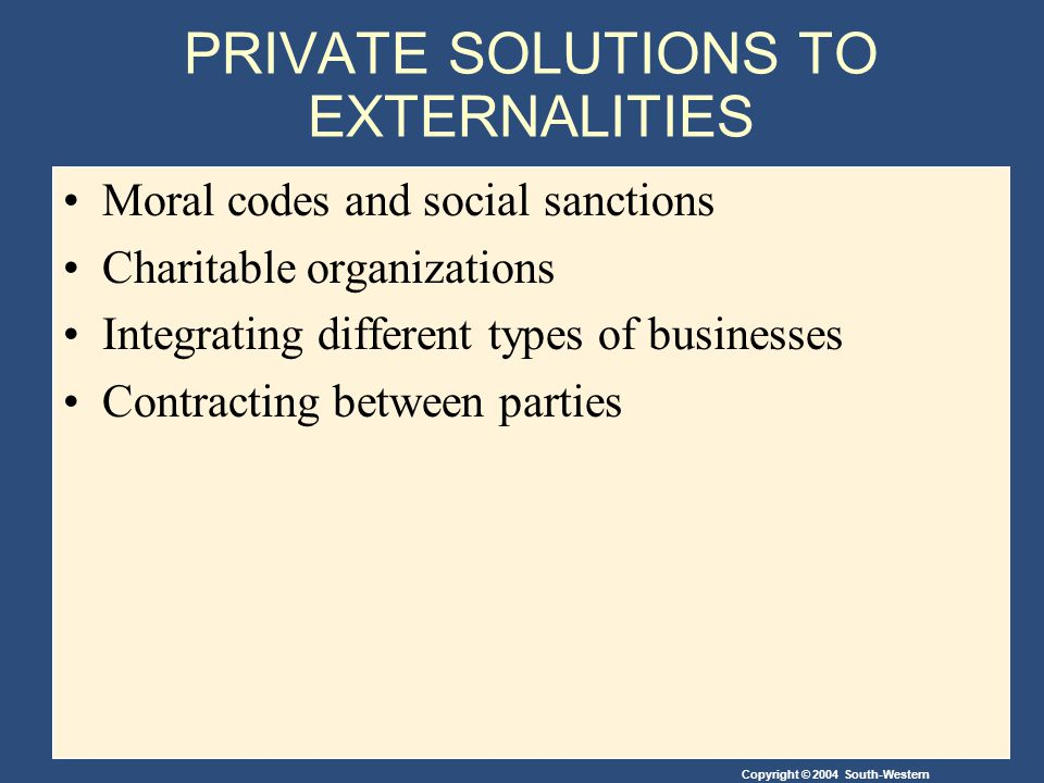Copyright © 2004 South-Western PRIVATE SOLUTIONS TO EXTERNALITIES Moral codes and social sanctions Charitable organizations Integrating different types of businesses Contracting between parties