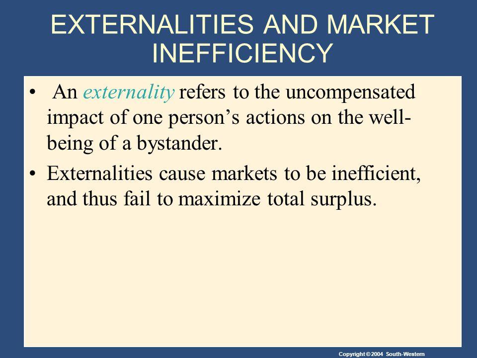 Copyright © 2004 South-Western EXTERNALITIES AND MARKET INEFFICIENCY An externality arises......