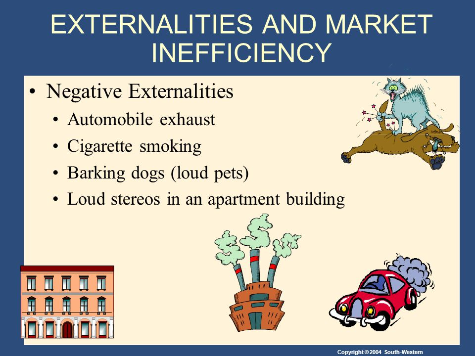 Copyright © 2004 South-Western EXTERNALITIES AND MARKET INEFFICIENCY Positive Externalities Immunizations Restored historic buildings Research into new technologies